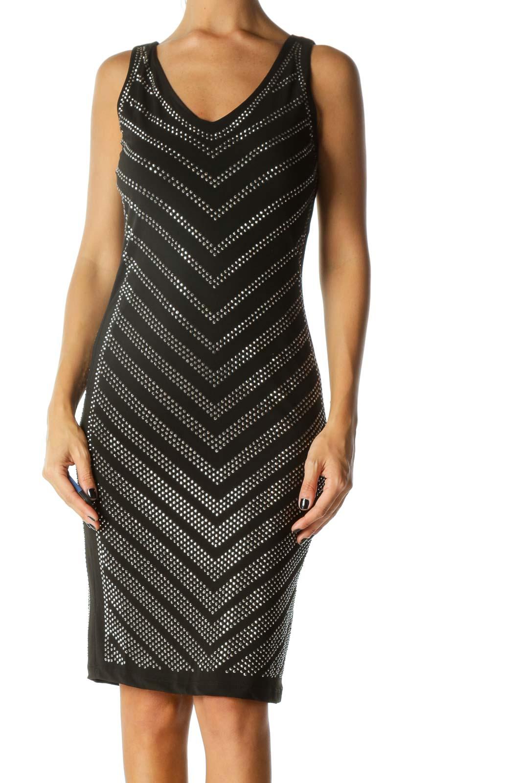 Black Studded Design Cocktail Dress Front