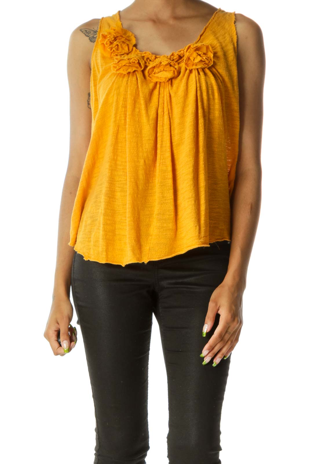 Old-Gold-Yellow 100% Cotton Flower-Appliques Knit Tank Front