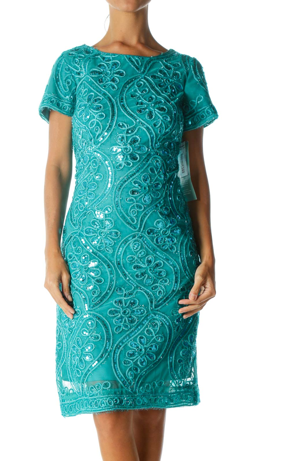Green Metallic Low Back Cocktail Dress   Front