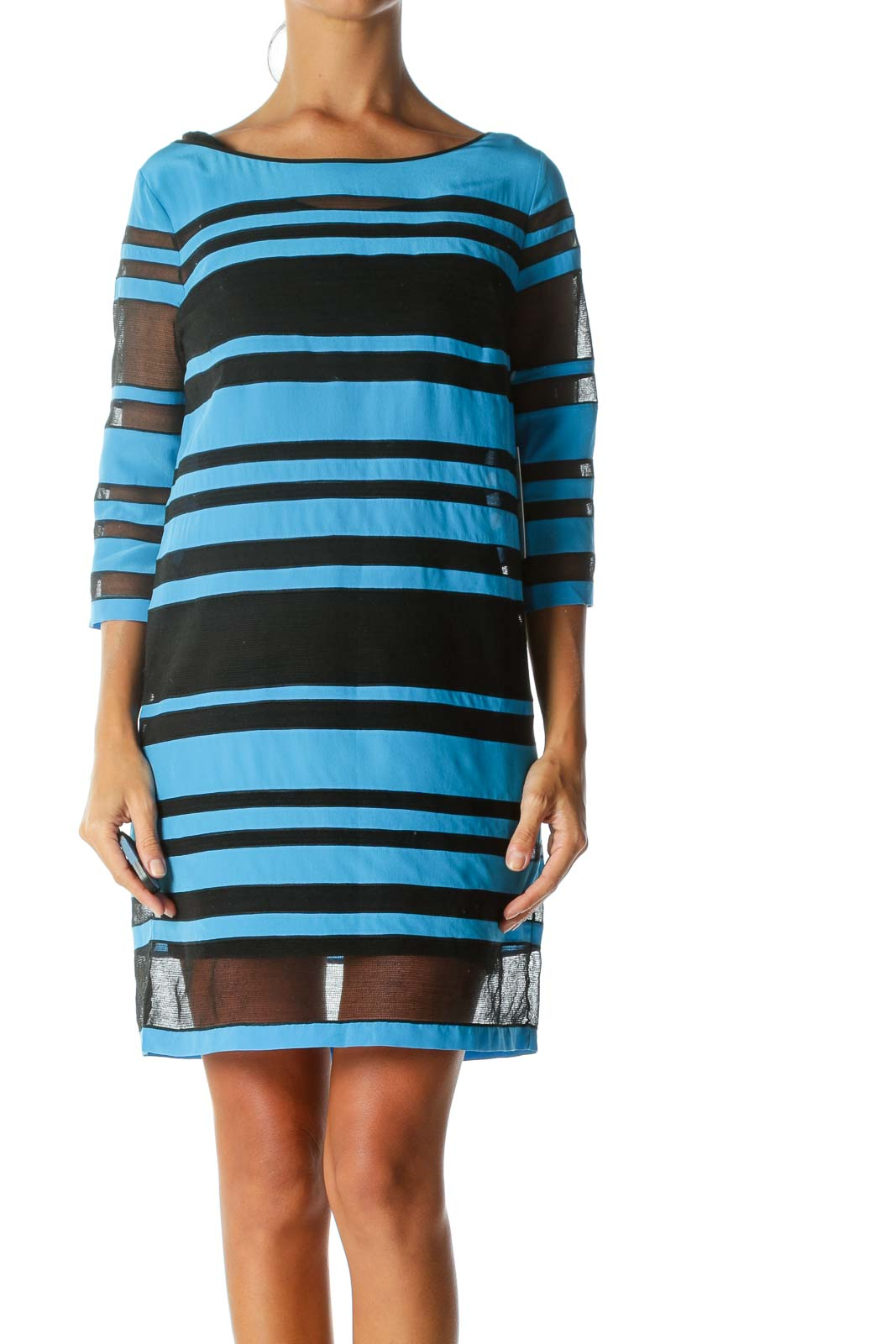Blue & Black Mesh-Detail Designer Short-Sleeve Dress Front
