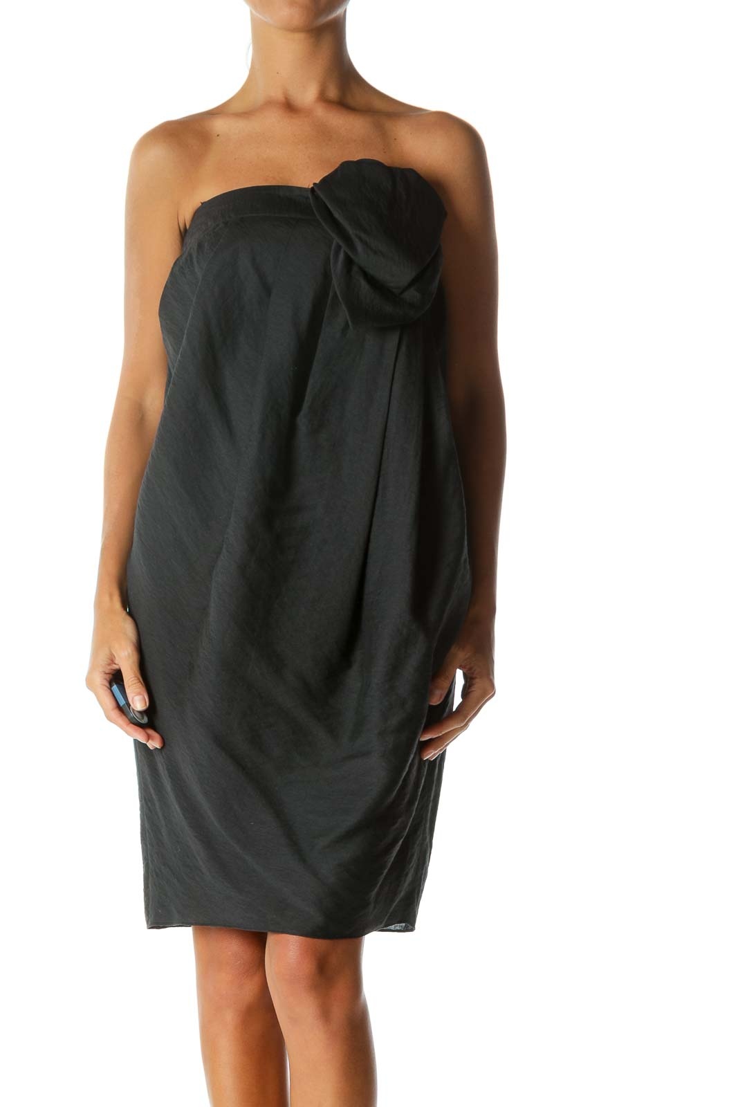 Black Strapless Designer Pleated Cocktail Dress with Chest Applique  Front