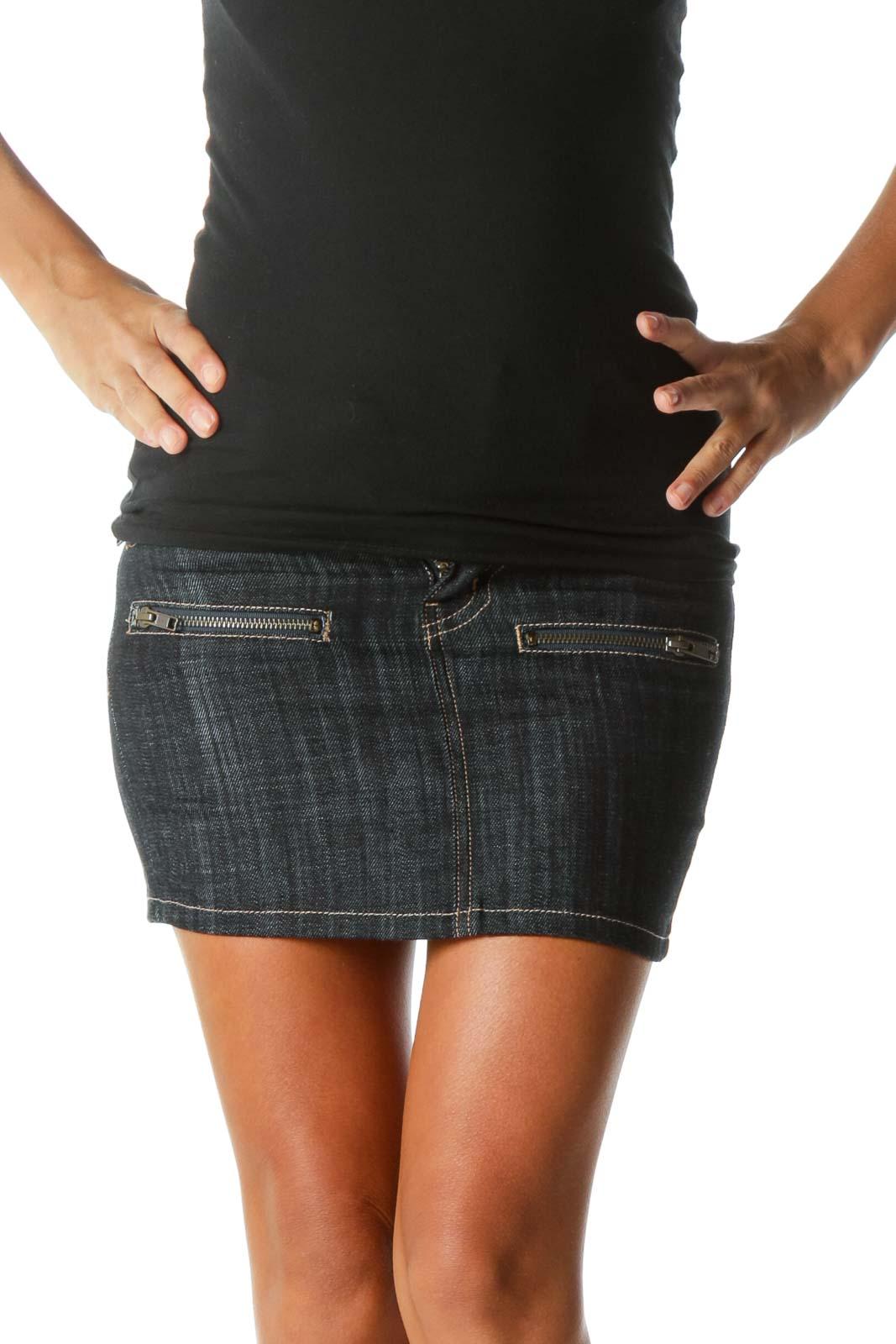 Blue Dark-Wash Zipper-Detailed Denim Skirt Front