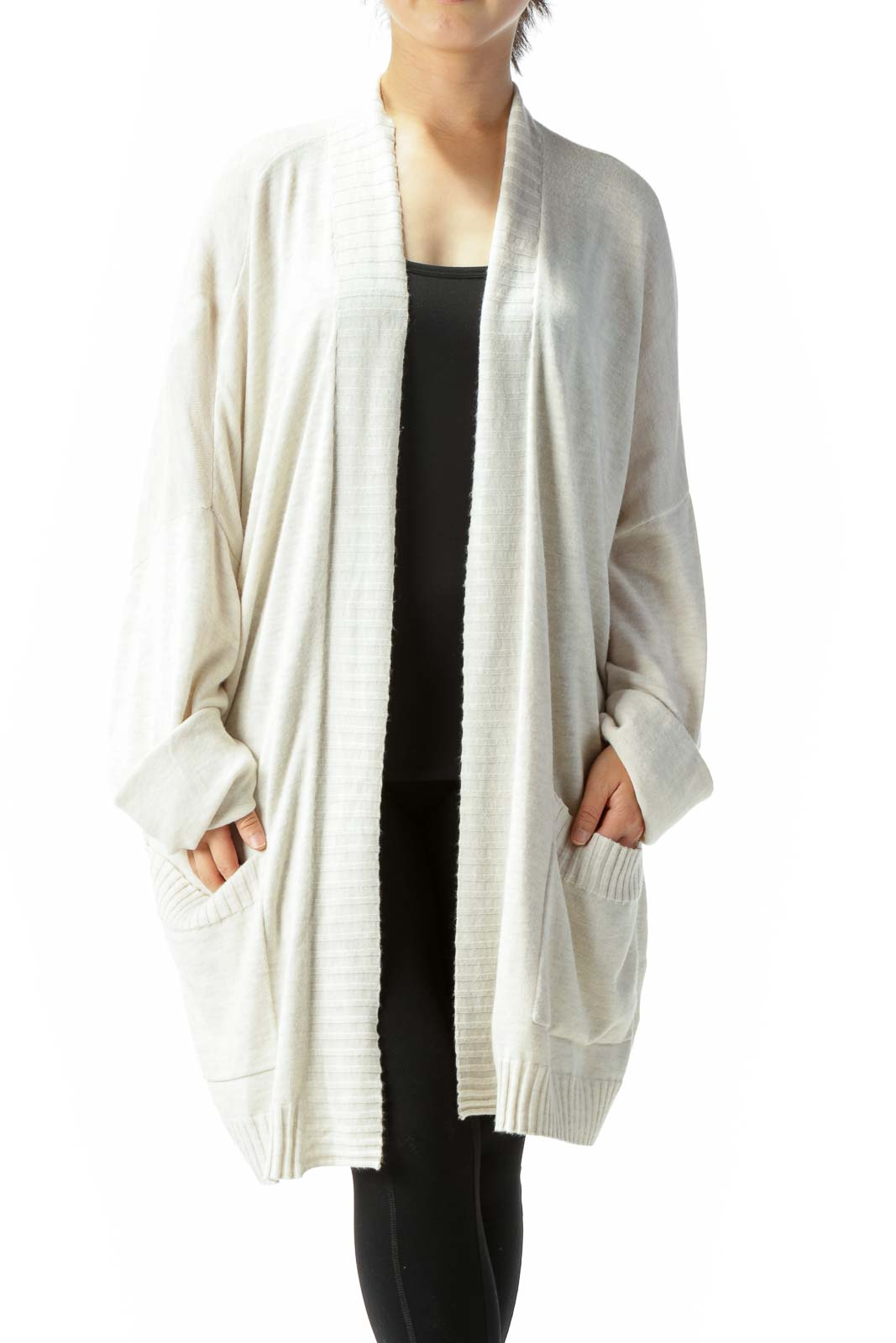 Cream Beige Pocketed Knit Bat-Long-Sleeve Cardigan Front