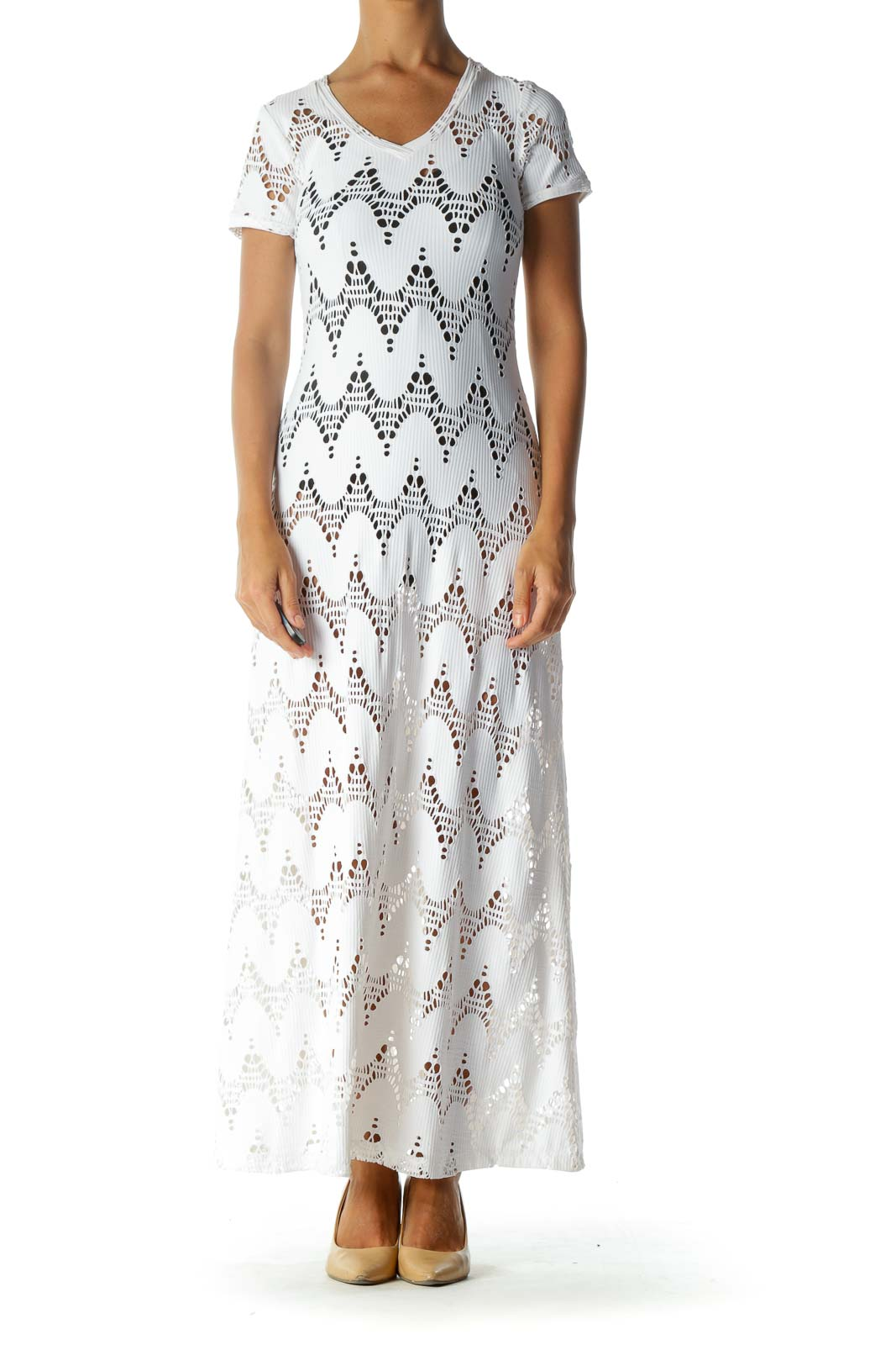 White Cut-Out Stretch Short-Sleeve Maxi-Dress Front