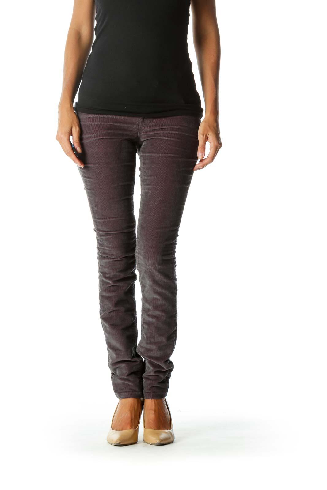 Purple & Gray Corduroy Skinny Jeans Front