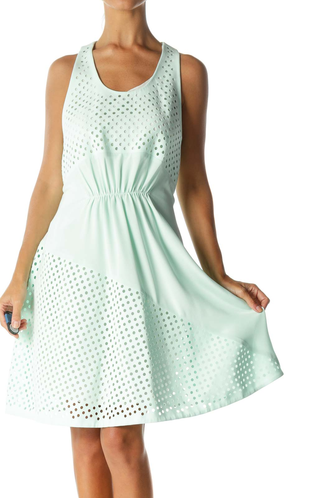 Mint Green Designer 100% Silk Circle-Cut-Out Sleeveless Day-Dress Front