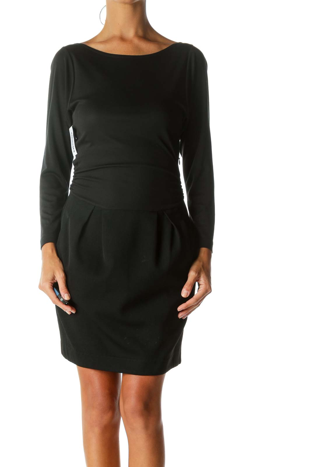 Black Long-Sleeve Mixed-Media Pleated-Skirt Pocketed Work Dress Front
