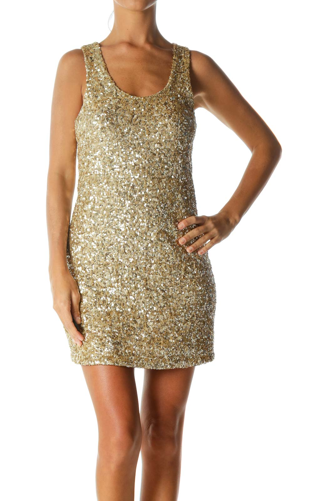 Gold Round-Neck Sequined Pull-On Stretch Cocktail Dress Front