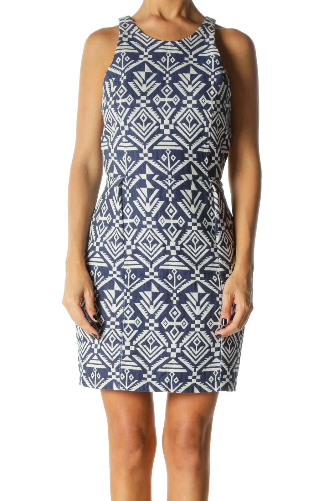 Blue & White Aztec Print Sleeveless Day Dress Front