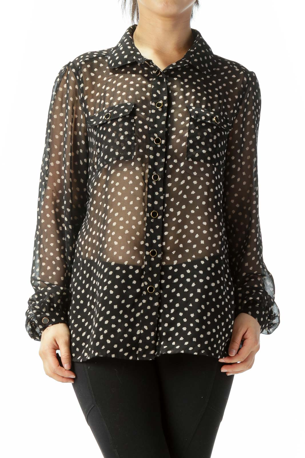 Black Beige Print Pocketed Long Sleeve Translucent Blouse Front