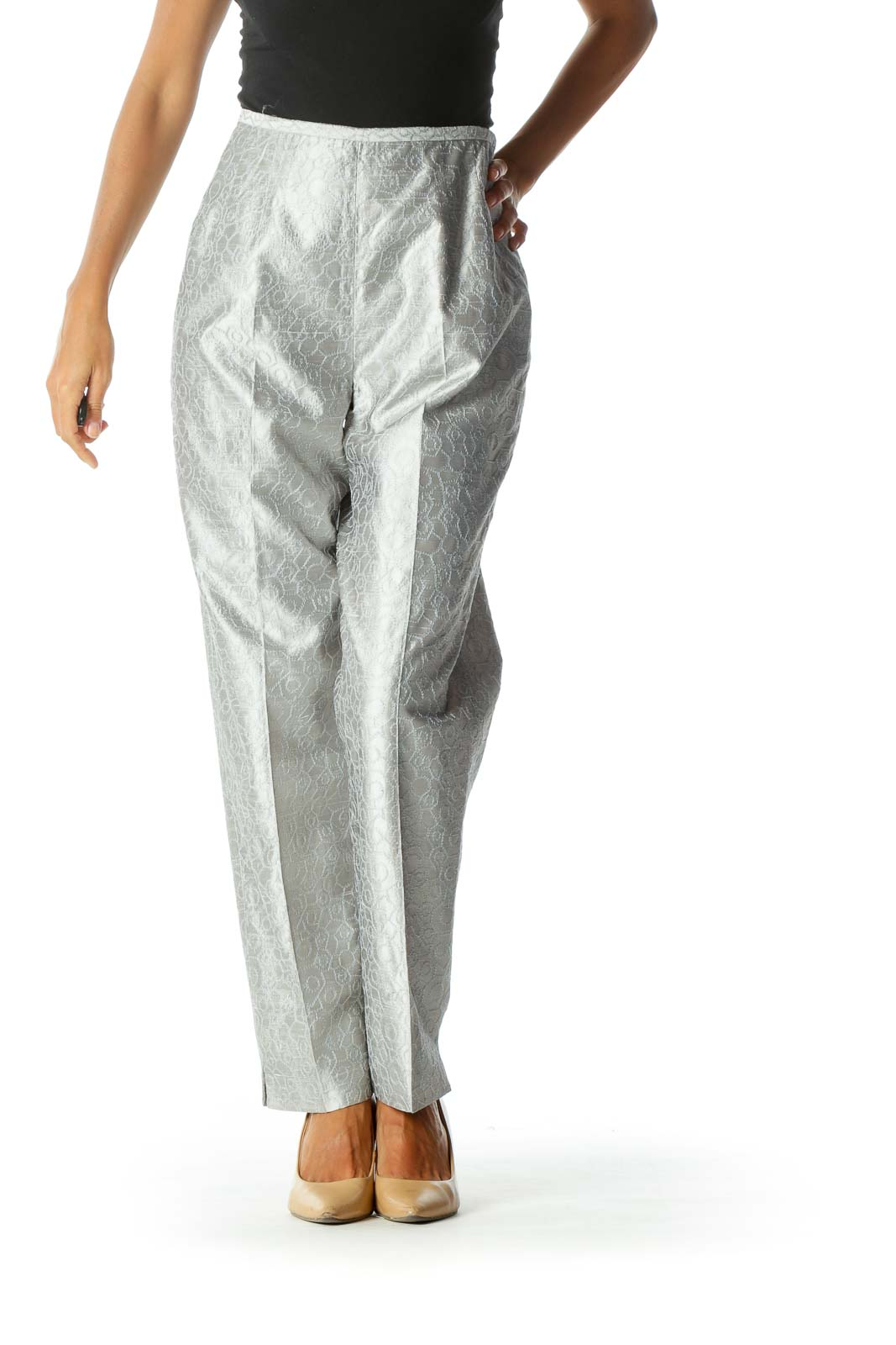 Silver Textured Pattern Tapered Side-Zipper Pants Front