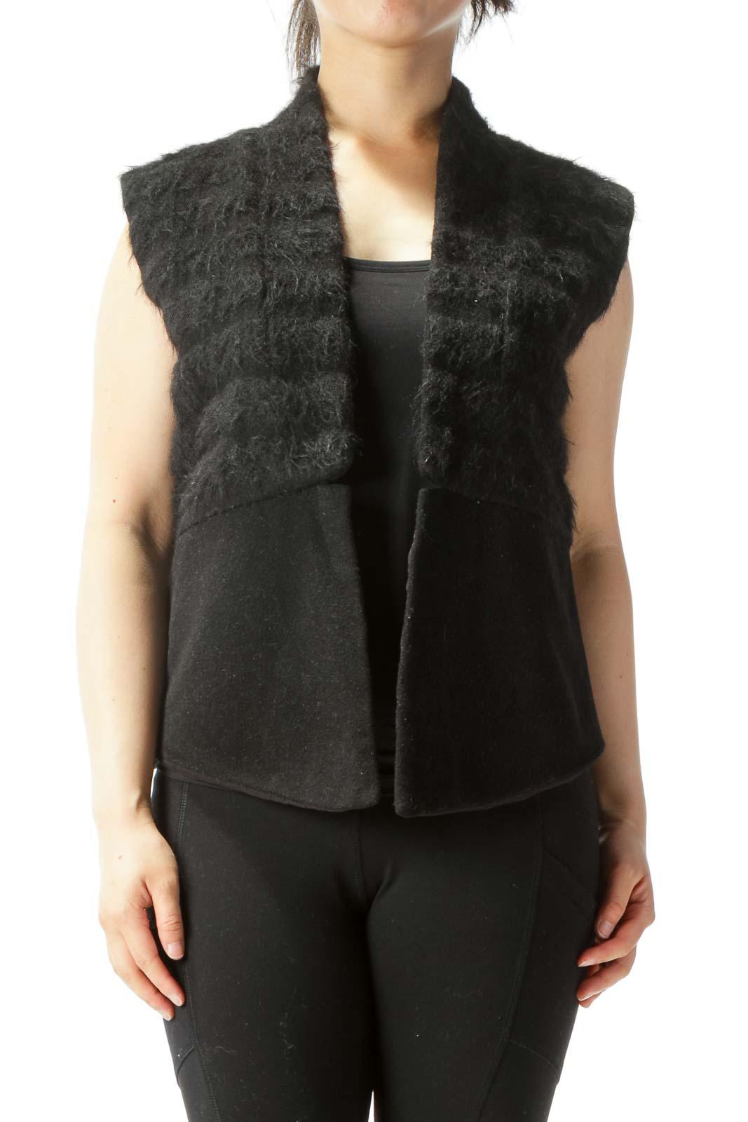 Black Textured Wool Open Vest Front