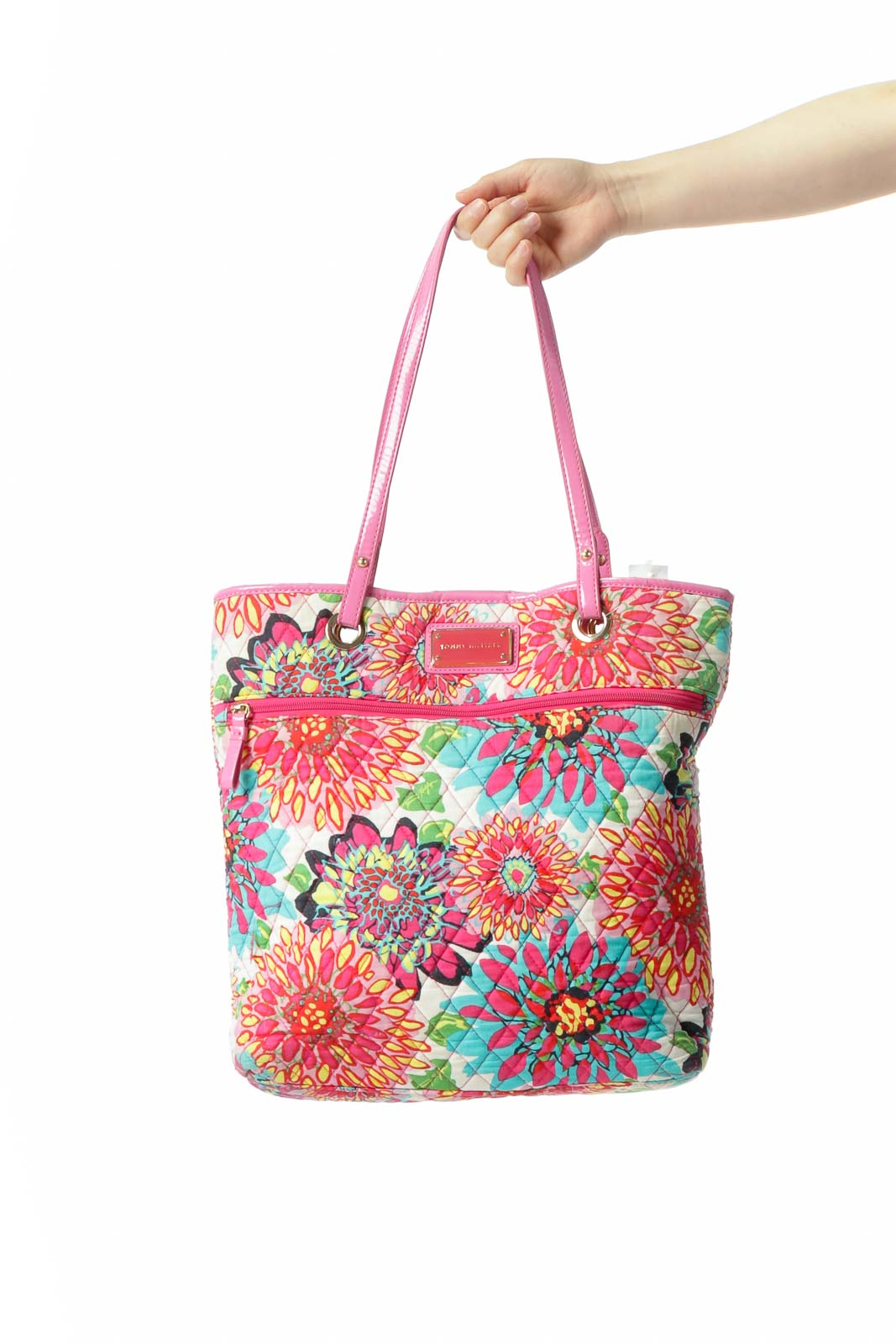 Pink Multicolored Floral-Print Quilted Magnetic Closure Tote Front