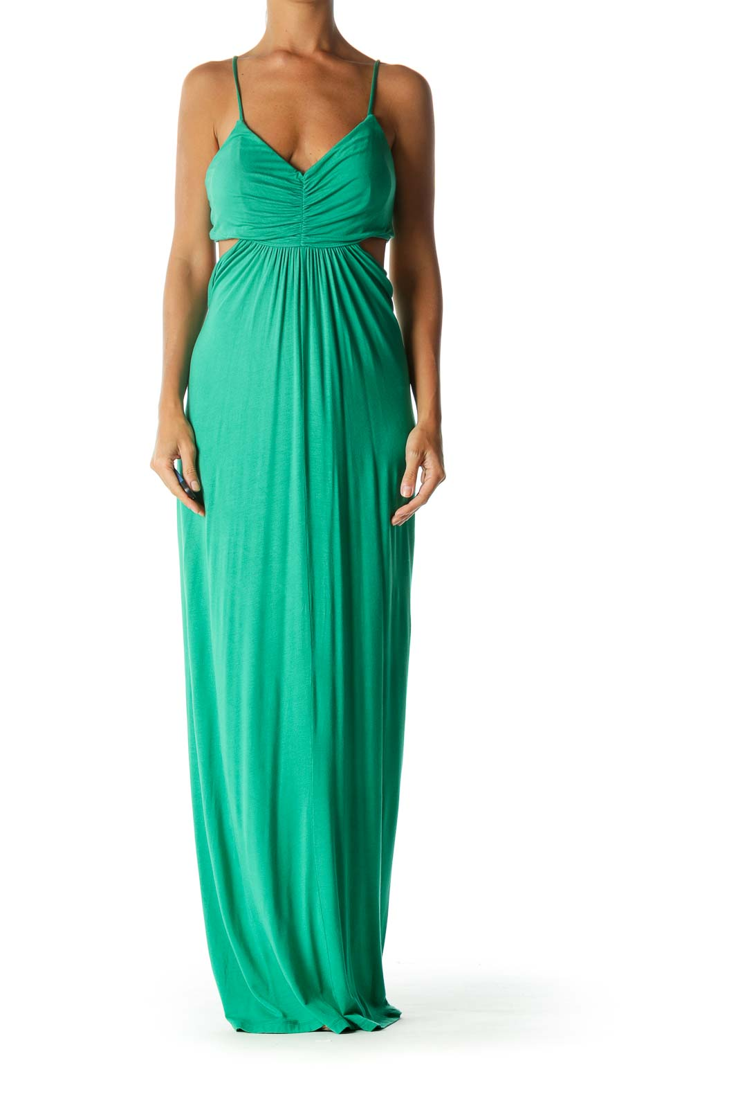 Green V-Neck Cut-Out Ruched Bust Detail Stretch Maxi Dress Front
