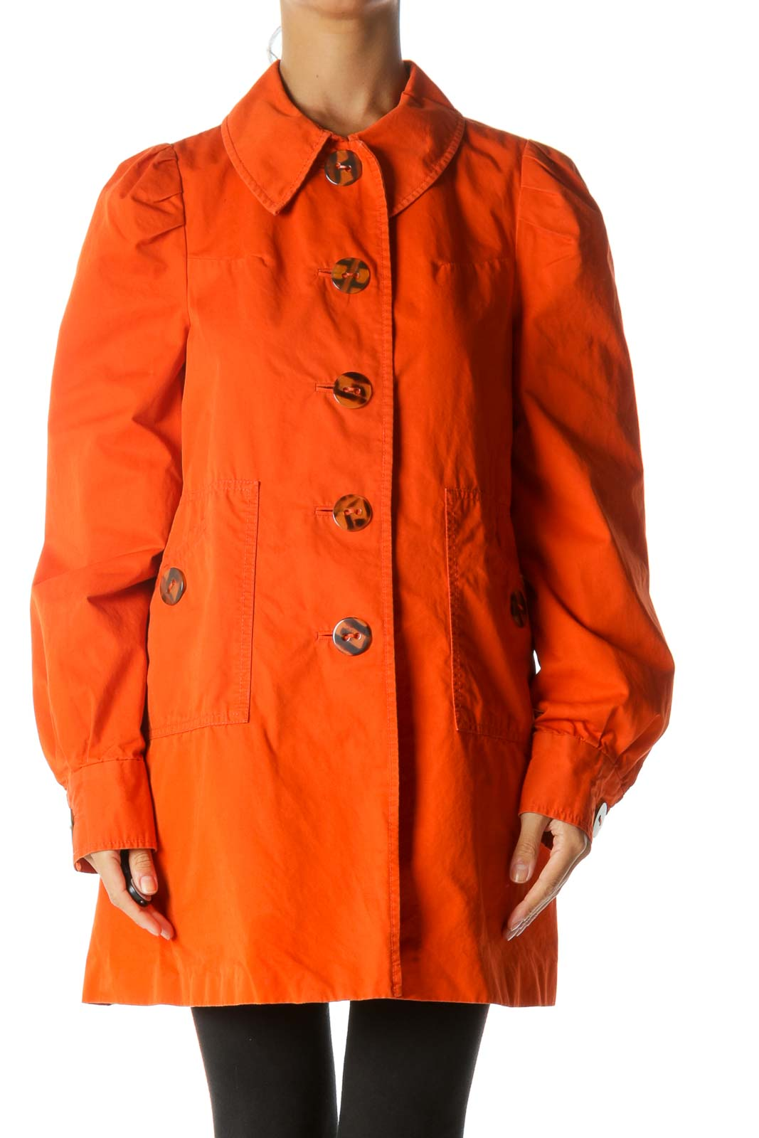 Orange Buttoned Pleated Detailing Pocketed Coat Front