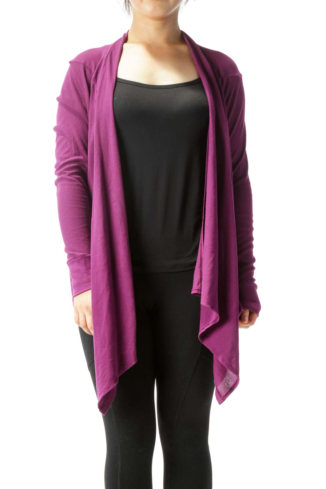 Purple Supima Cotton Long-Sleeve Stretch Knit Cardigan Front
