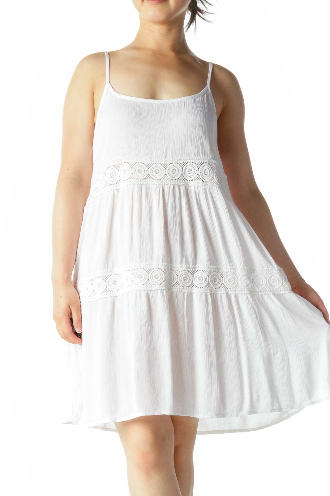 White Spaghetti Straps Knit Accent Flared Top Front
