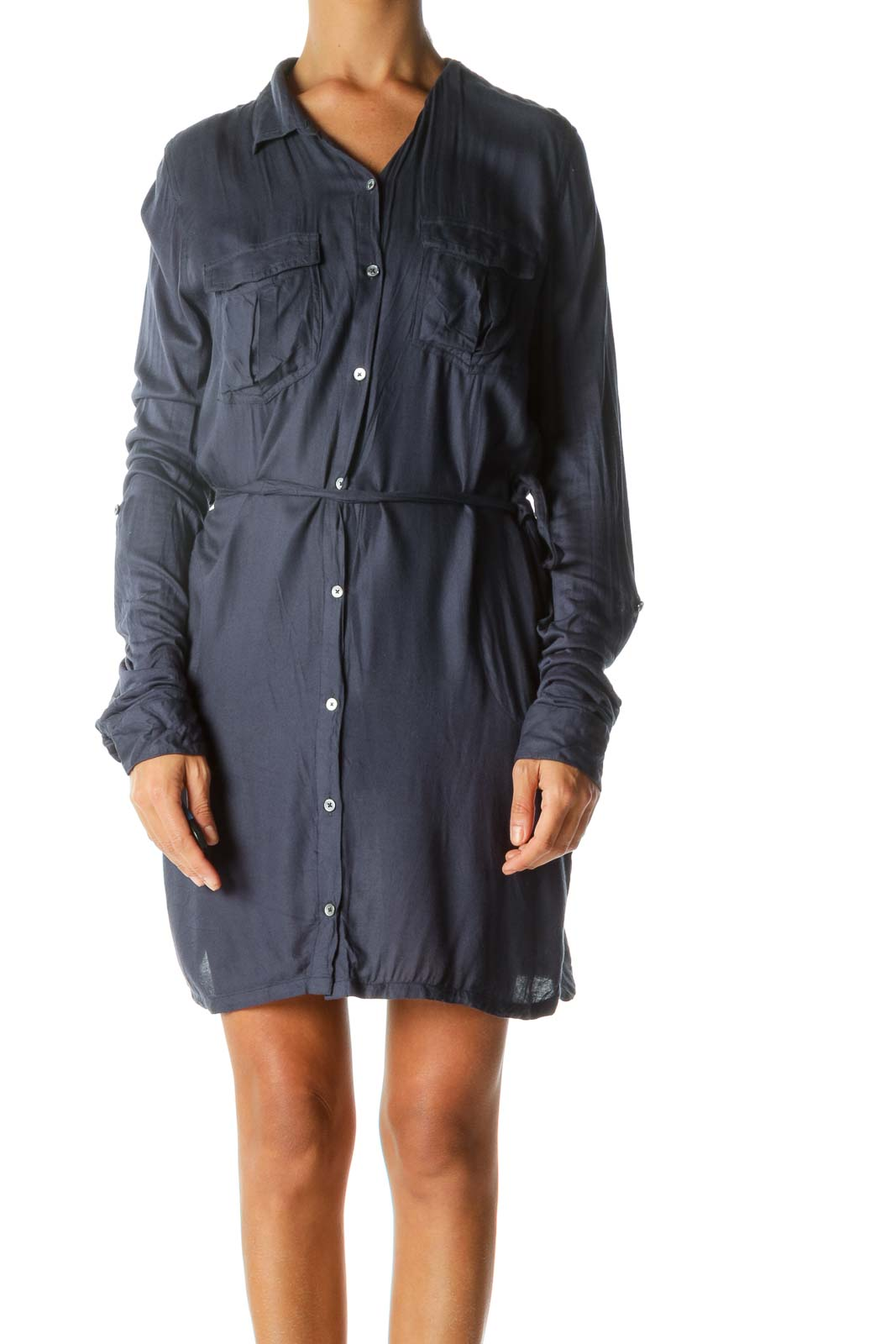 Blue Buttoned Long-Sleeve Belted Knit Light Pocketed Dress Front