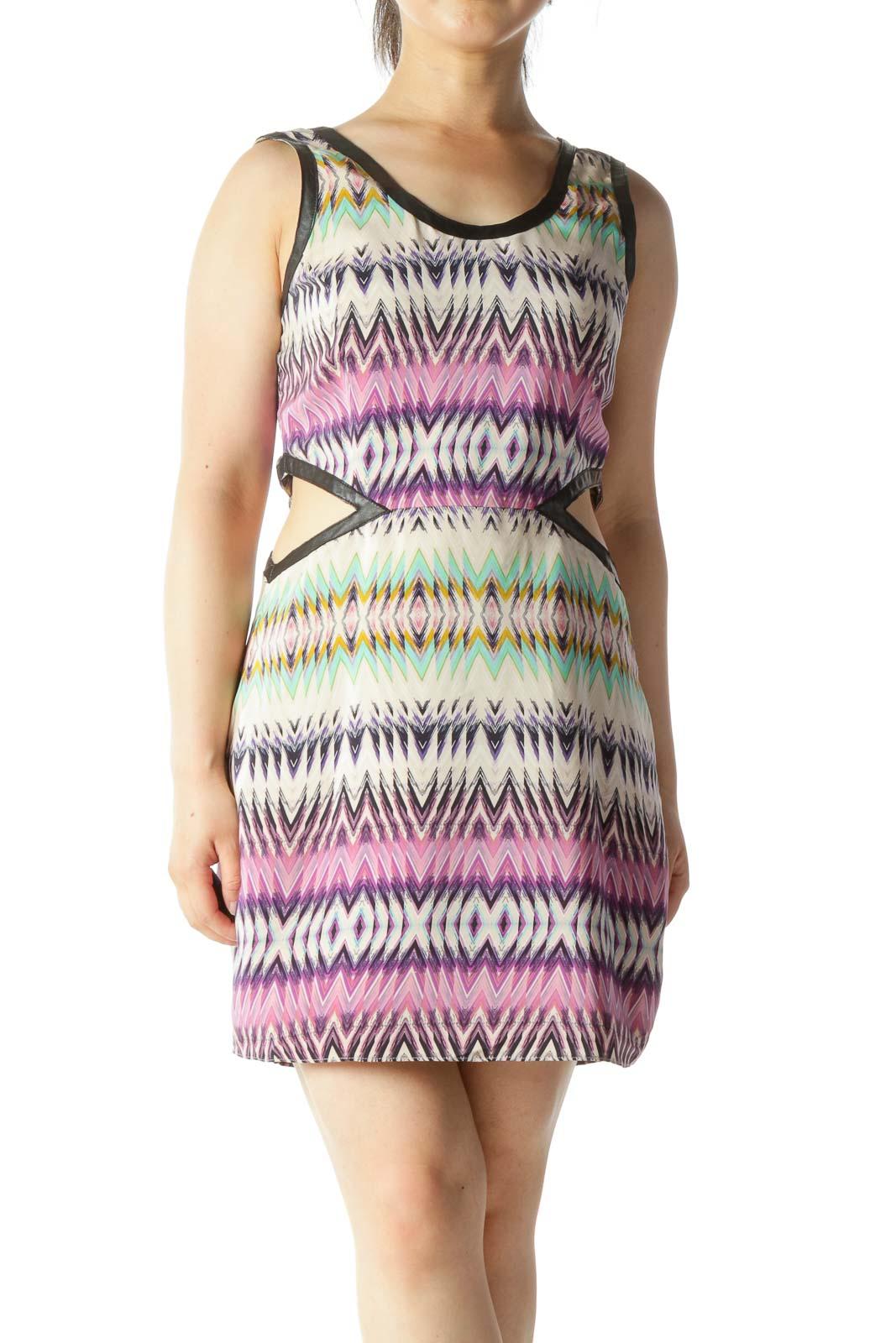 Multicolor Waist Open Cut Out Scoop Neck Dress Front