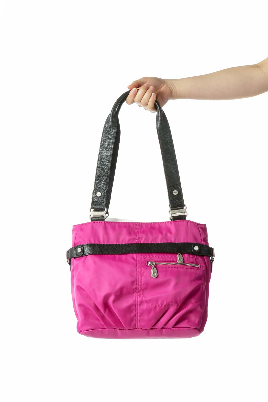 Magenta Pink Black Hardware Zippered Shoulder Bag Front