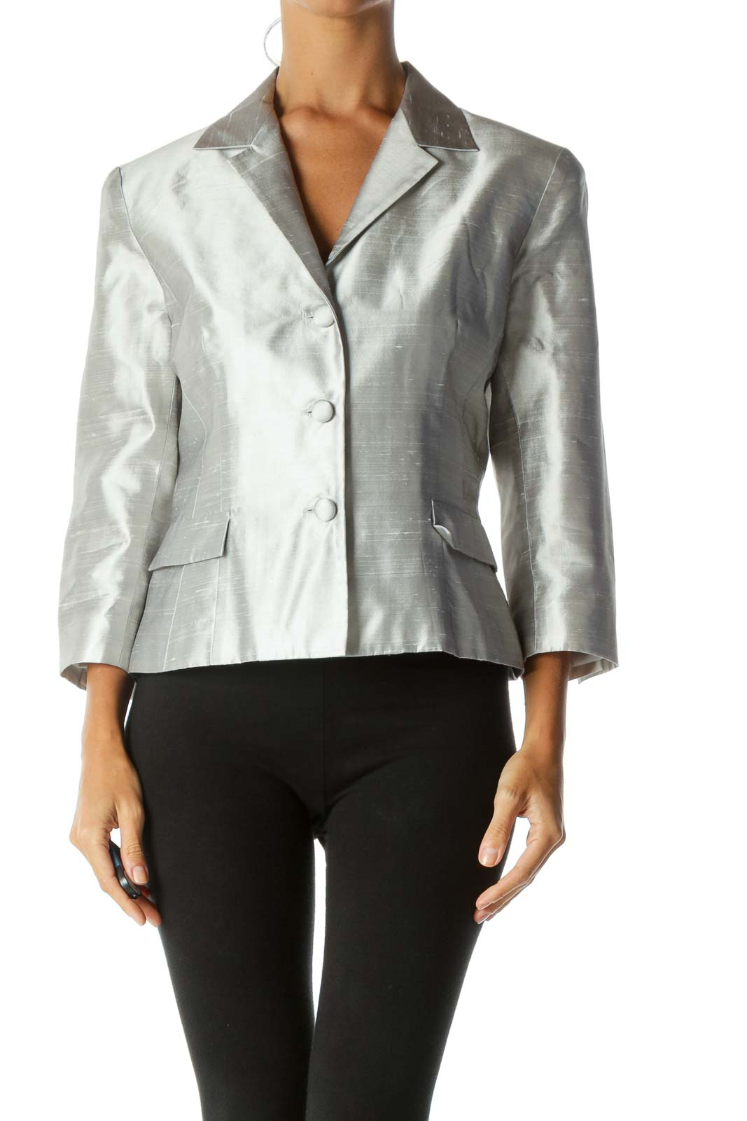 Silver Textured Fabric Buttoned Padded Shoulders Shiny Blazer Front