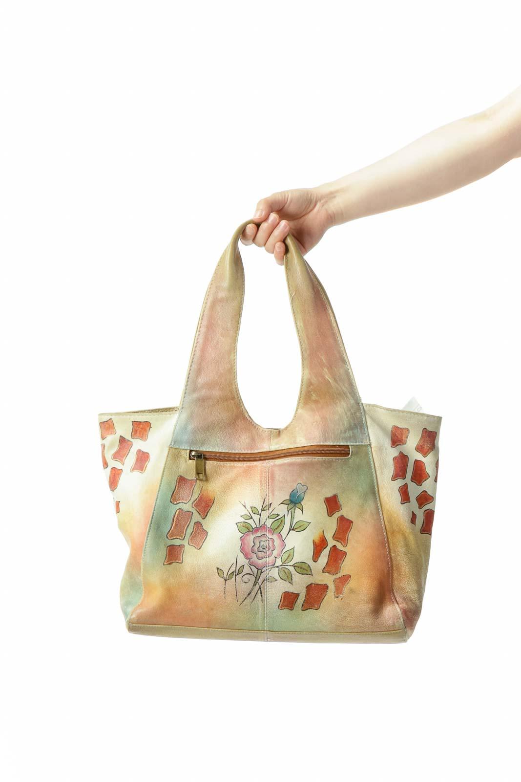Beige Floral Vintage Leather Tote Bag Front