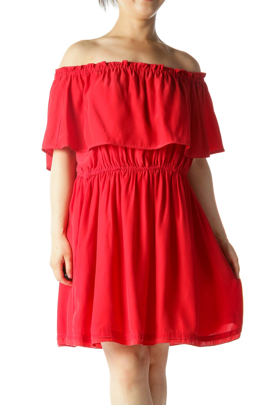 Red 100% Silk Cold Shoulder Elastic Waist Pocketed Day Dress Front