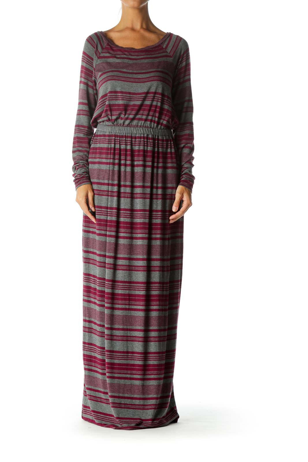 Grey Pink Stripe Maxi Day Dress Front