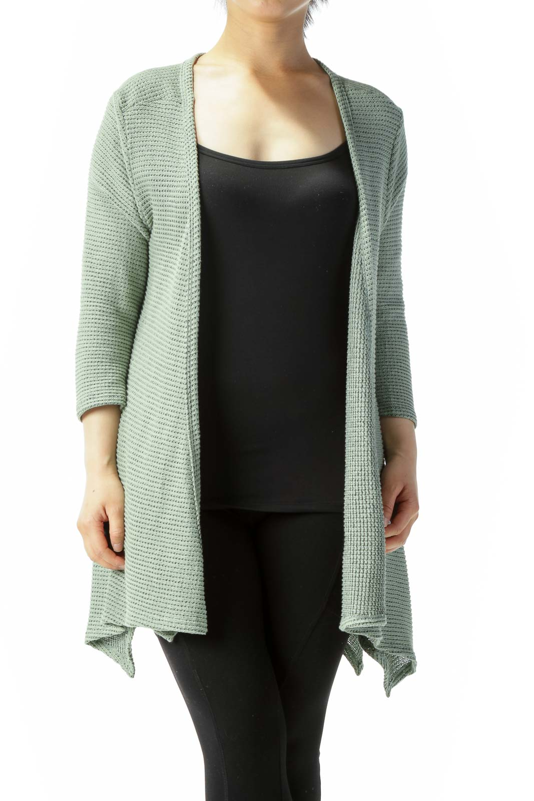 Light Green Back Buttons 3/4-Sleeve Knit Stretch Cardigan Front