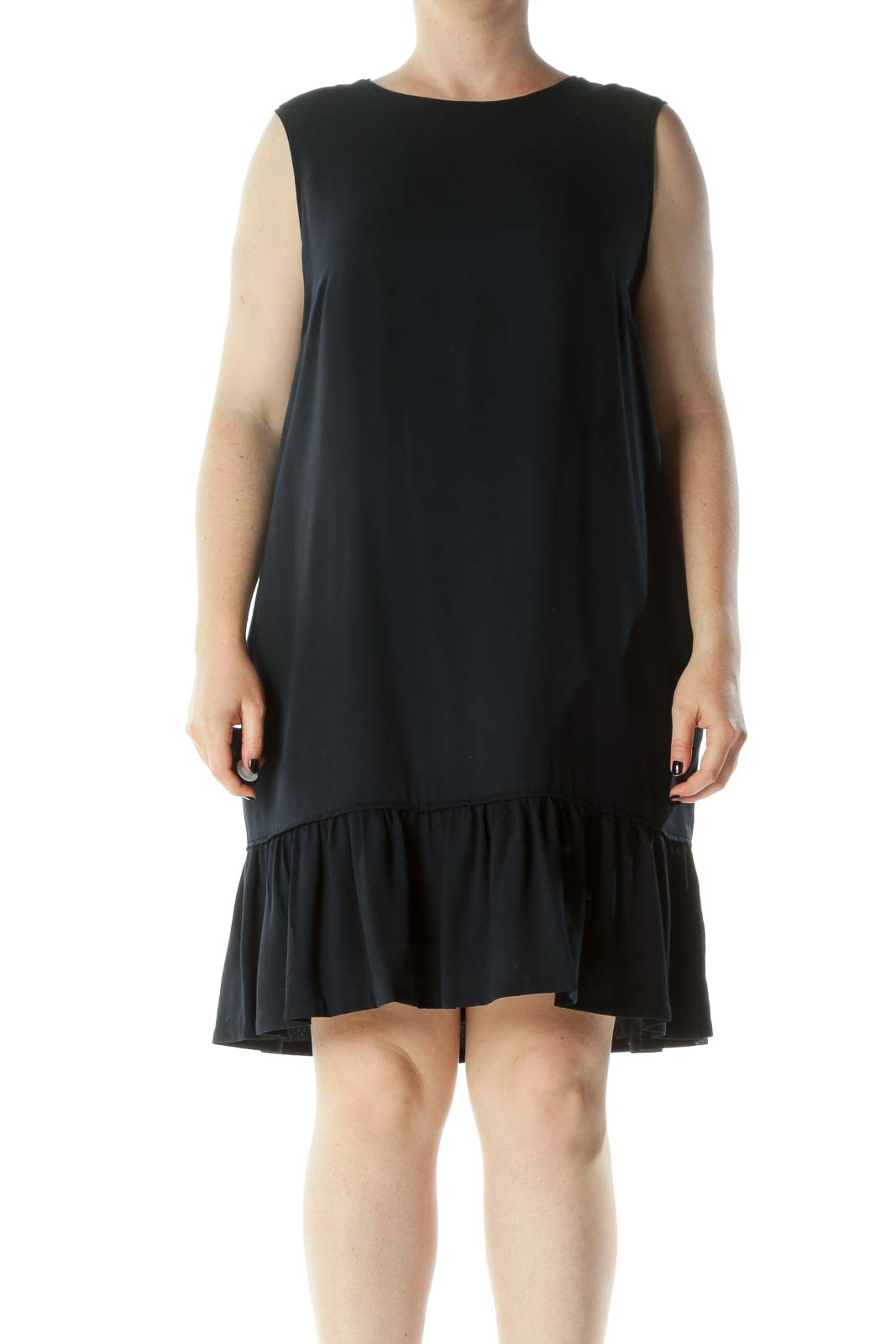 Navy Blue Round Neck Sleeveless Pocketed Flared Detail Dress Front