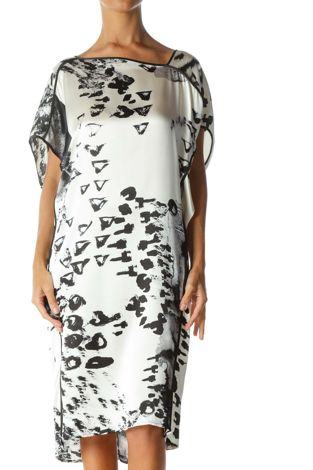 Black Cream 100% Silk Printed Asymmetric Neckline Pull-On Dress Front