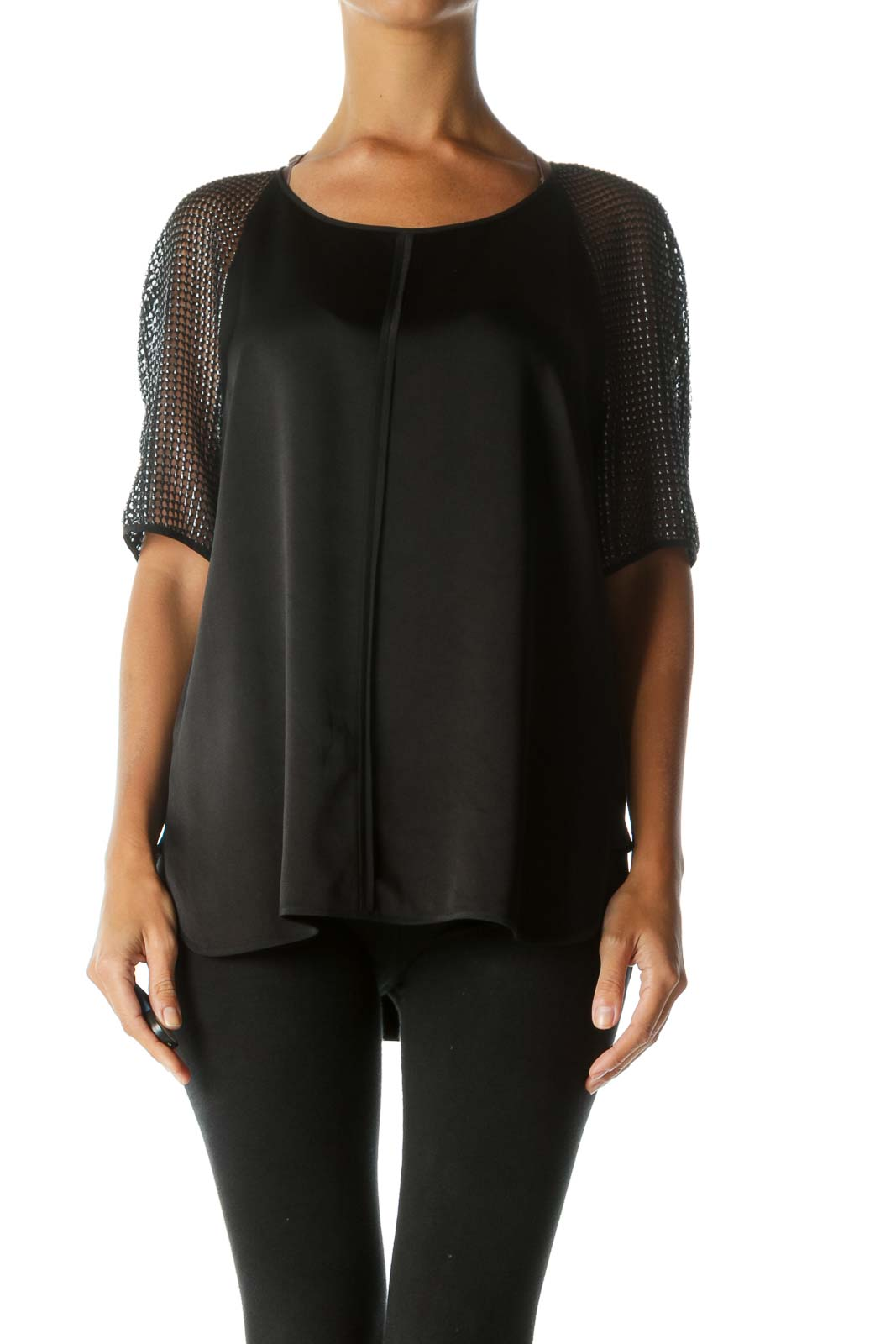 Black Silver See-Through-Short-Sleeves Soft Silk Blend Top Front
