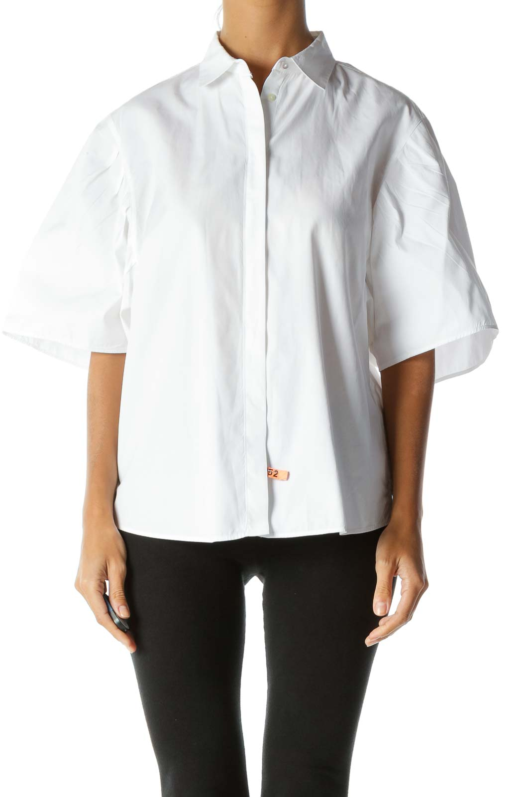 White 100% Cotton Buttoned Pleated-Detailing Short-Sleeve Shirt Front