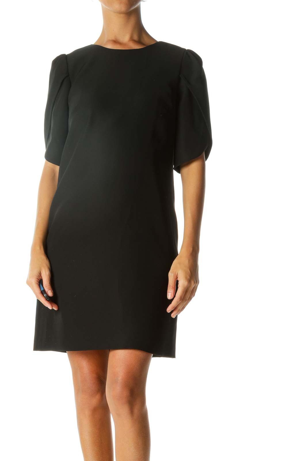 Black Round Neck Flared-Short-Sleeves Cocktail Dress Front