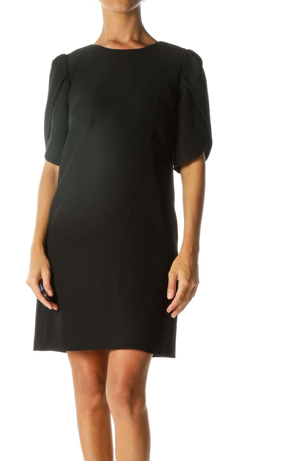 Black Round Neck Flared-Short-Sleeves Cocktail Dress Front