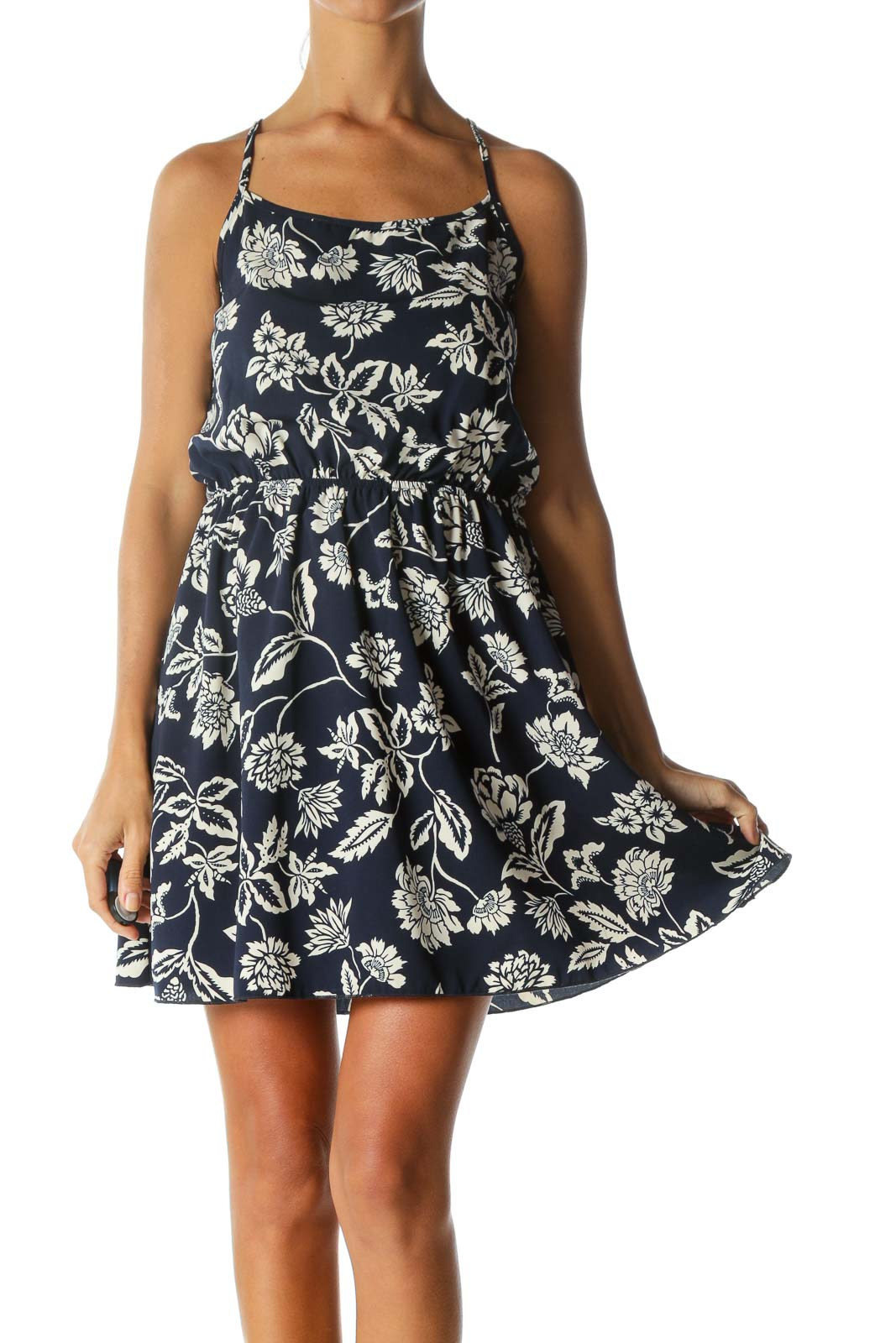Navy Floral Low Back Day Dress Front