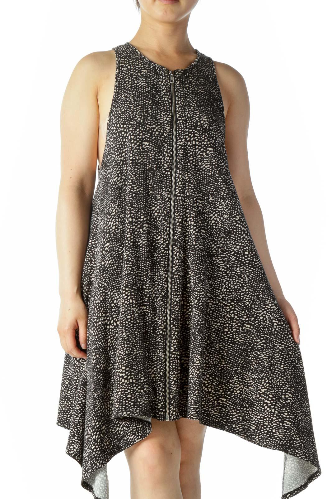 Black White Pattern Zip Up A line Dress Front