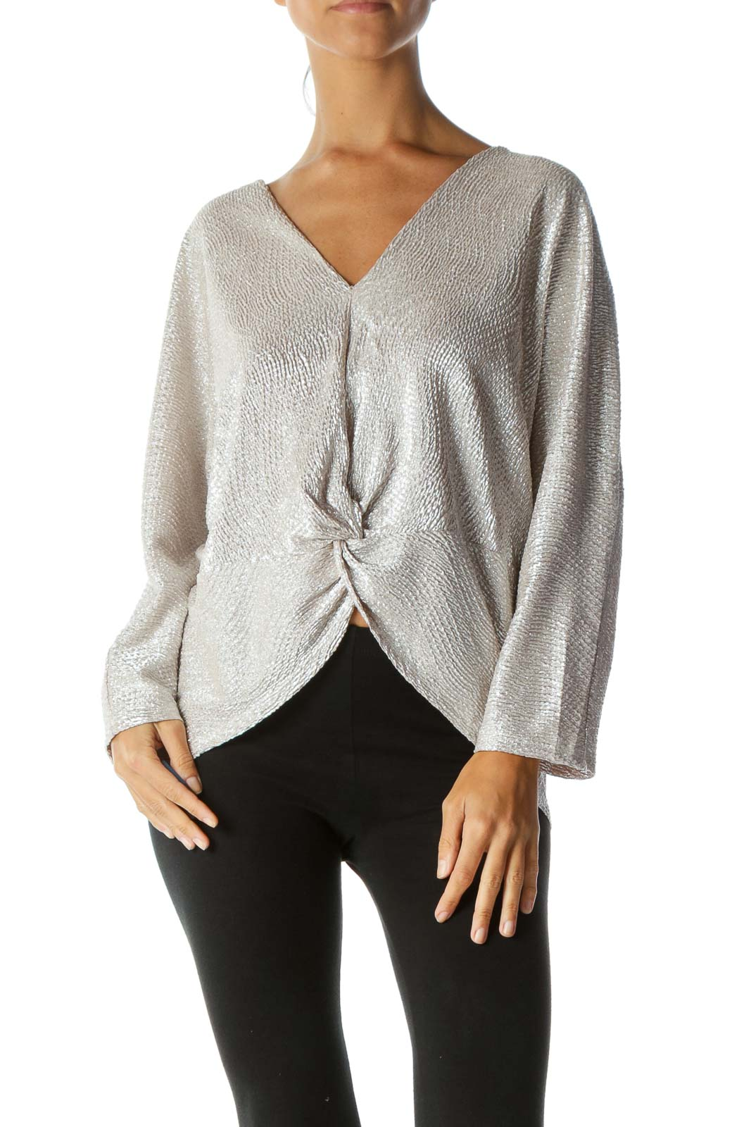 Silver Beige V-Neck Shiny Textured Knot Detail Bat-Sleeve Stretch Top Front
