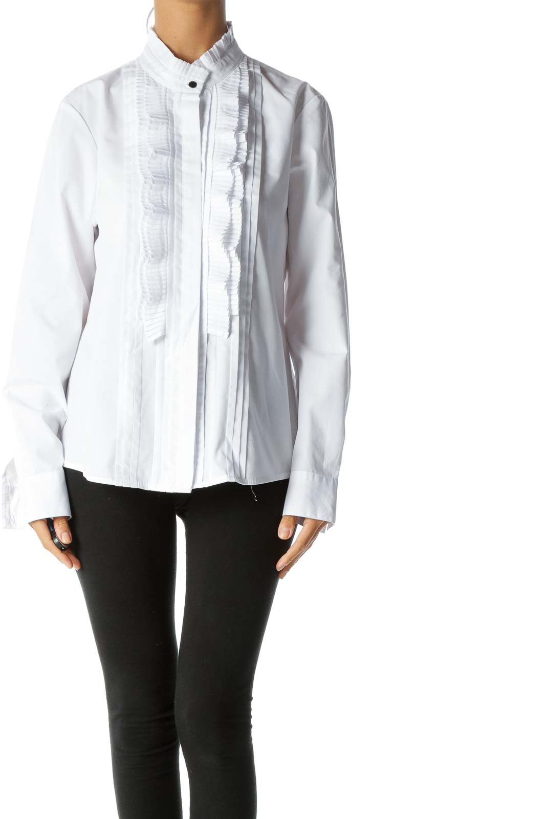 White Round Neck Pleated Trimming Details Shirt Front