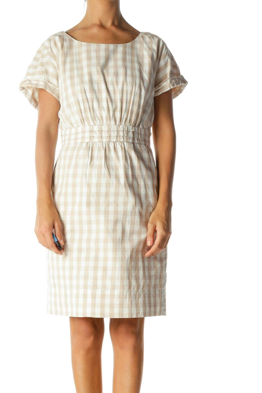 Beige Cream Gingham Short Sleeve Pleated Pocketed Dress Front