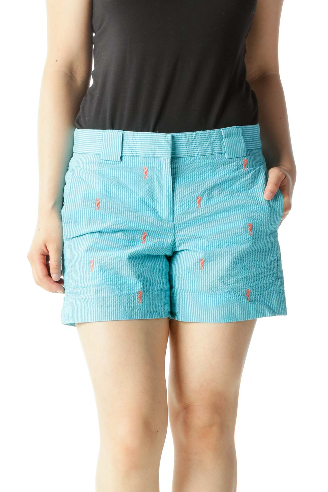 Blue Striped Shorts with Orange Seahorse Pattern Front