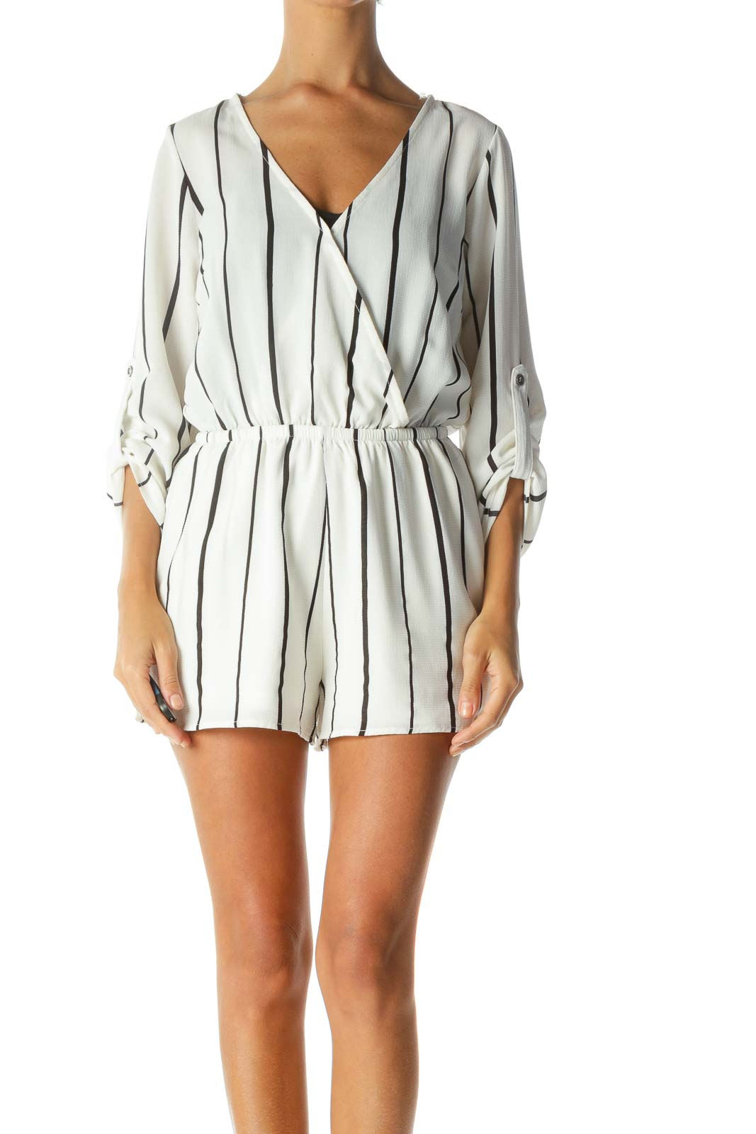 White Black Striped V-Neck Roll-Up Sleeves Romper Front