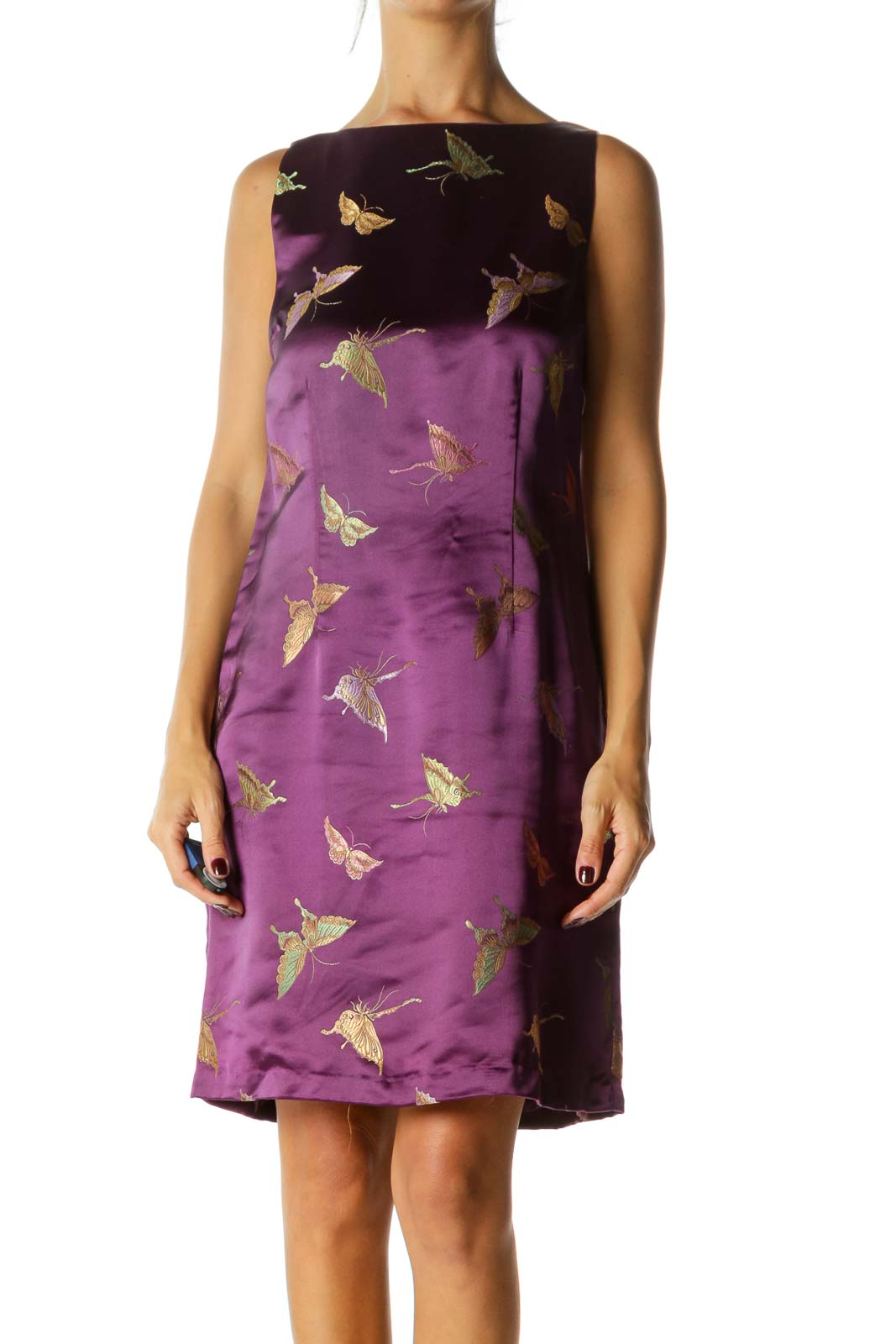 Purple Green Pin Butterfly Print Shiny Round Neck Sleeveless Dress Front