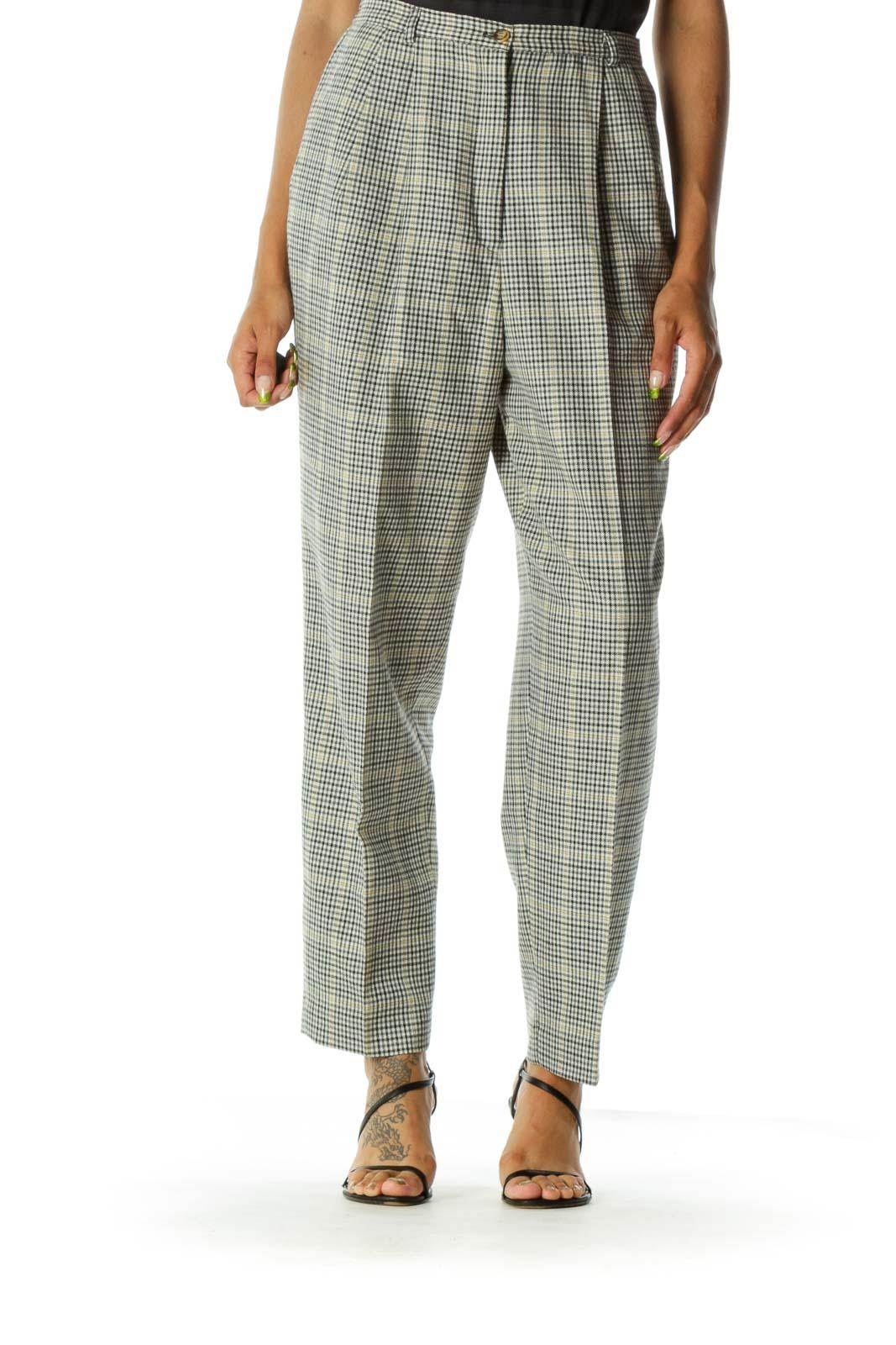 Black White Wool Check Pants  Front