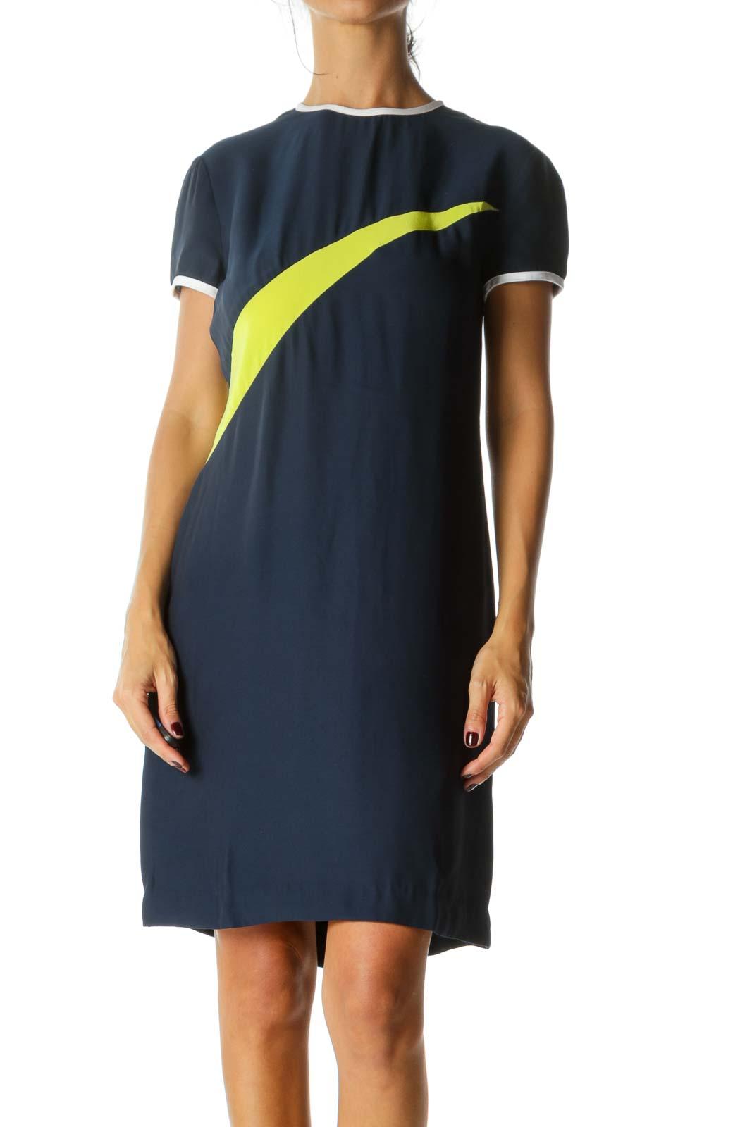 Navy Blue Fluorescent Green White Trim Short Sleeve Silk Blend Color Block Dress Front