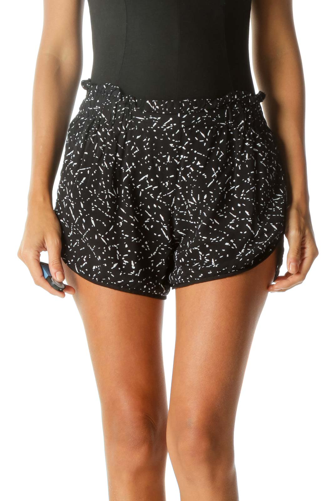 Black & White Speckled High-Rise Pocketed Mini-Shorts Front