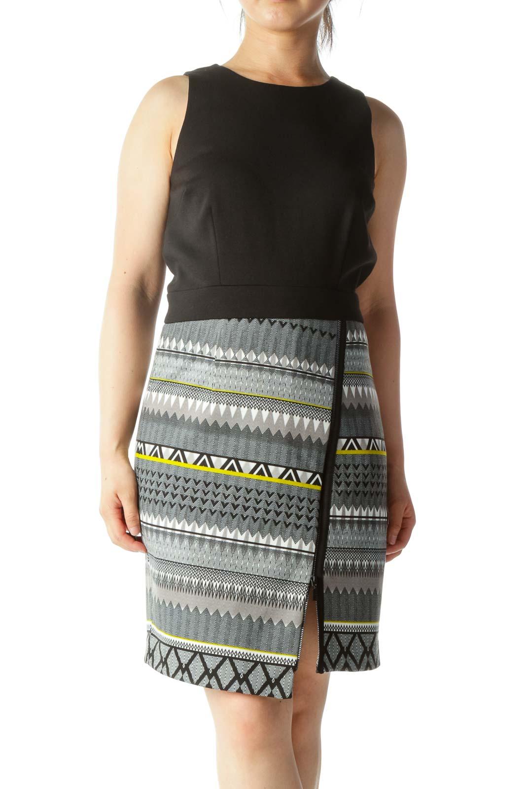 Black White Gray Yellow Skirt Print Zipper Accent Dress Front