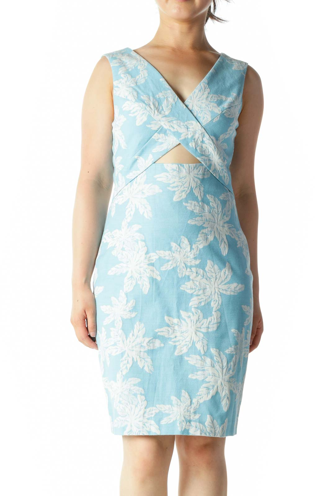 Blue White Jacquard Floral-Texture V-Neck Front Cut Out Day Dress Front