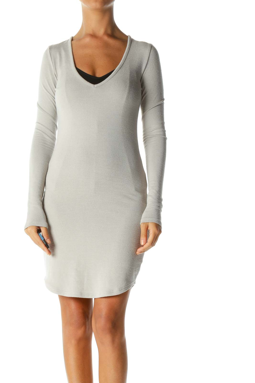 Beige V-Neck Stretch Long-Sleeve Knit Dress Front