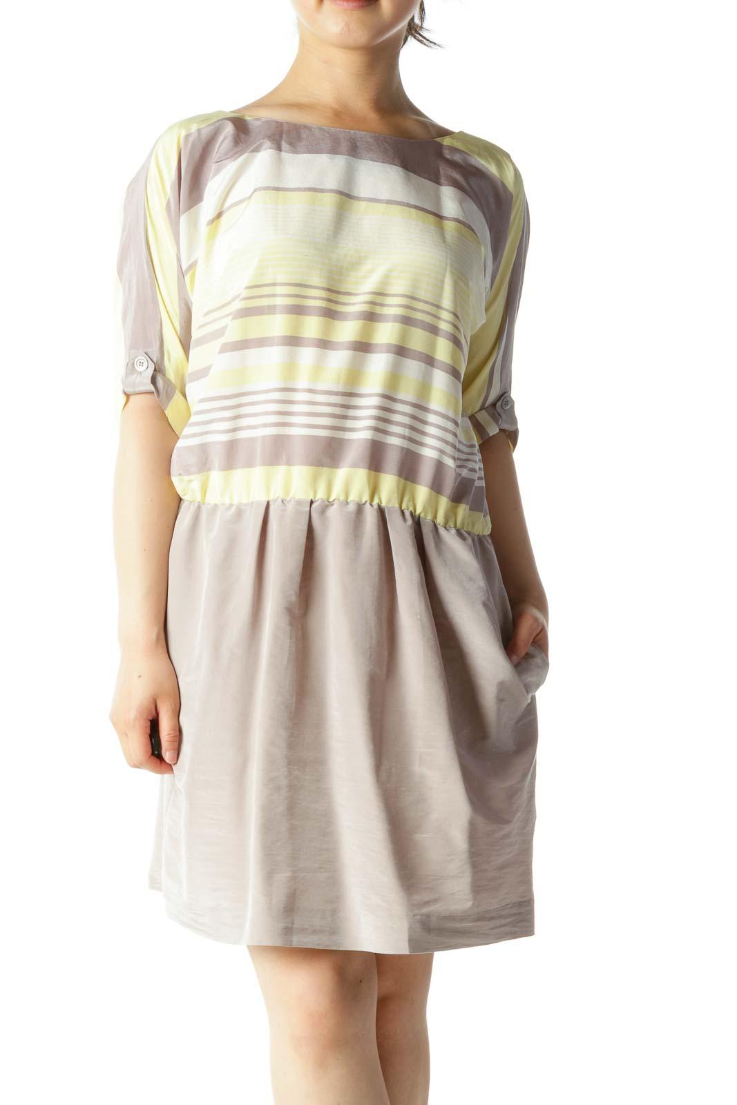 Beige Yellow White Gradient Stripes Bat Sleeves Elastic Waist Dress Front